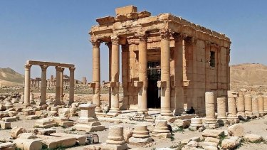 The ancient Temple of Baalshamin at Palmyra before its destruction.
