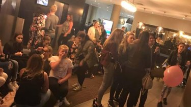 Teenagers seek refuge at a Manchester hotel in the wake of the explosion.