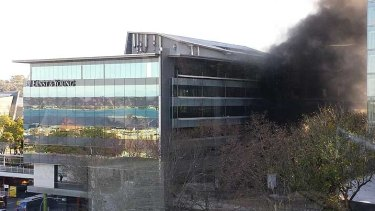 Smoke could be seen billowing from the busport on Tuesday afternoon