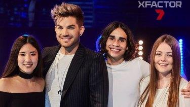 <i>X Factor Australia</i> 2016 finalists Natalie Ong, Isaiah Firebrace and Amalia Foy with judge Adam Lambert.