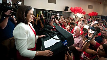 Annastacia Palaszczuk celebrates victory in the 2015 election.