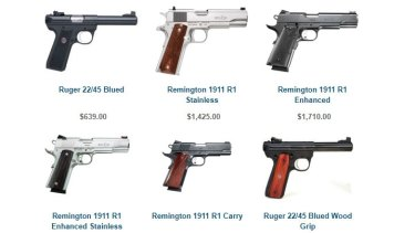 A selection of the handguns on sale at O'Reilly's gun shop in Thornbury.
