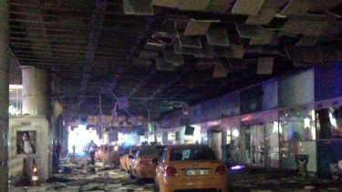 An entrance of the Ataturk Airport in Istanbul after explosions.