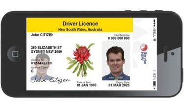 A supplied mock up of what the digital licence might look like.