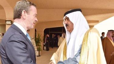 Defence Industry Minister Christopher Pyne meets Prince Mutaib bin Abdullah al-Saud in Riyadh in December.
