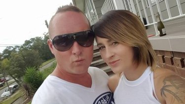 Damian Jobson, a Windale Eagles rugby player, with his wife Brooke.