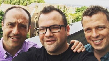 L-R: Vodafone chief executive Iñaki Berroeta; Kogan founder Ruslan Kogan; Kogan Mobile executive director David Shafer.