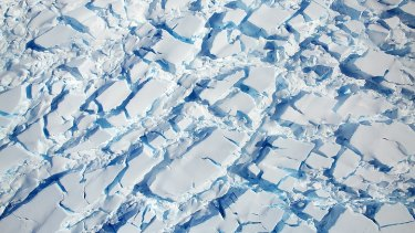 Ice and snow in Antarctica taken by a NASA plane as it flew overhead as part of Operation Icebridge, which observes changes.
