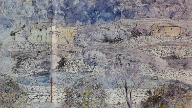 <i>Moorish Terraces, Majorca</i>. Pen and ink wash on paper, 1967.