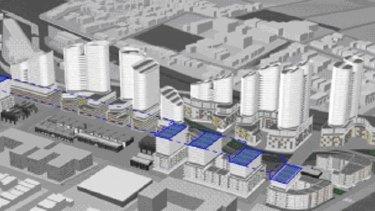 An artist impression of Mirvac's proposed $1.3 billion development along Carrington Road, Marrickville.