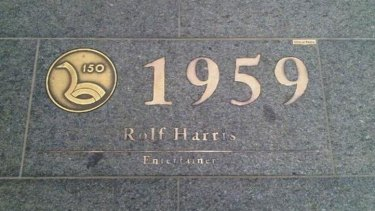Plaque dedicated to Rolf Harris on St Georges Terrace in the Perth CBD has been removed.