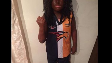 Book Week blackface: The boy dressed up as AFL footballer Nic Naitanui.