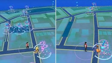 Intersecting Pokestops (left) have all been removed in the game's latest update.
