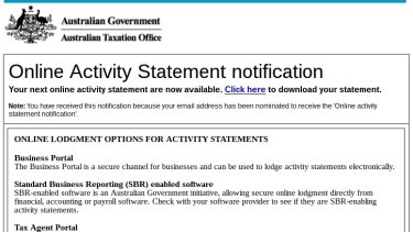 Real of fake? Email from the Australian Tax Office.