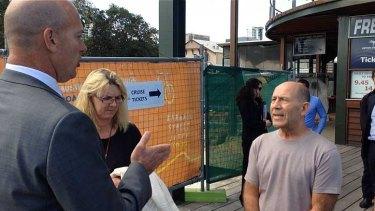 Angry Riverside cafe owner Bryan Molnar confronts minister Dean Nalder.