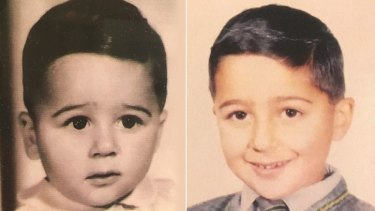 Anthony Virgona as a toddler (left) and in primary school in Melbourne's western suburbs.
