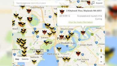 The map details on the hots spots across Perth for magpie attacks.