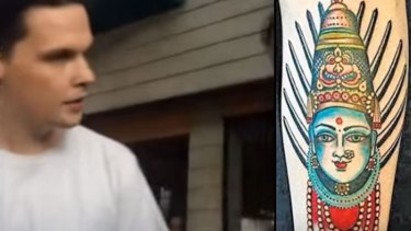 Matt Gordon during the confrontation, and his tattoo.
