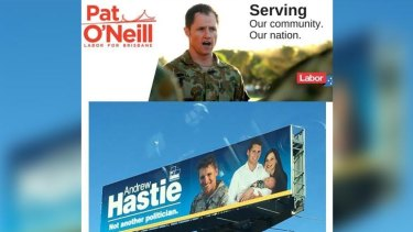 Mr Hastie was asked to remove a sign of him in military gear after Brisbane Labor candidate Pat O'Neill received a similar request.