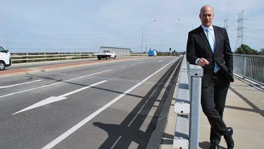 WA Transport Minister Dean Nalder at the Russell Road bridge.