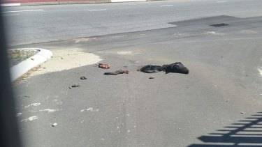 The pig parts were strewn outside the mosque.