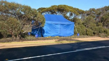 A crime scene where a little girl's remains were found in a suitcase at Wynarka, South Australia.