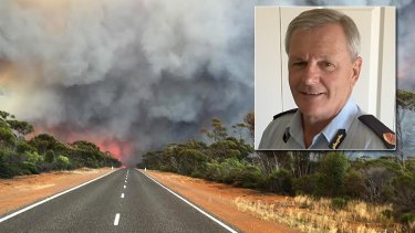 Trevor Tasker (inset) saw the firestorm approaching from Esperance.