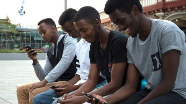 (L-R) Abdulahi Abdi, Abdi Shire, Mohammed Omar and Ahmed Ali are part of the target group for testing the WA app.