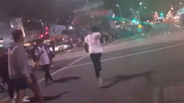 Apex gang members rioting outside Flinders Street station last March
