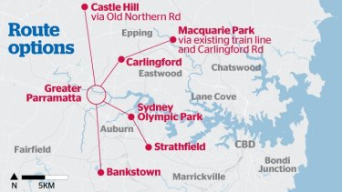 Proposed routes for the Parramatta light rail line.