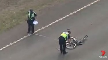 Police at the scene of the Toolern Vale hit-run.