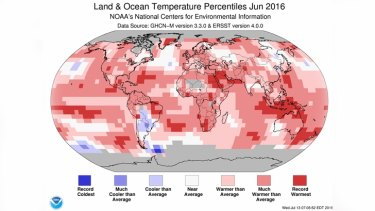 Land and ocean temperatures for June 2016.