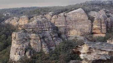 Sandstone rock formations near the Coalpac mine.