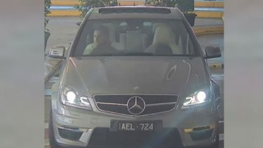 The alleged thief in the Mercedes-Benz C63 AMG.
