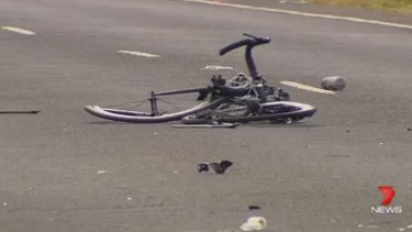 The cyclist's mangled bike after the hit-run at Toolern Vale.