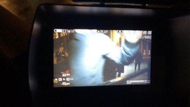 Cardinal Pell's security shoving an Australian TV camera.