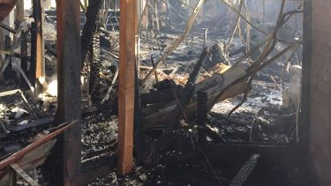 What remains of Wesley College's fire-ravaged classrooms.