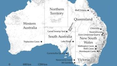 Distribution of known Australian megapode avian megafauna from a study by Flinders University PhD candidate Elen Shute.