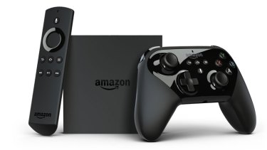 Amazon's Android-powered Fire TV media player, compatible with a Bluetooth remote and gaming controller.