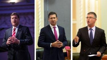 Queensland LNP leadership battle: Tim Nicholls, Lawrence Springborg and Tim Mander.