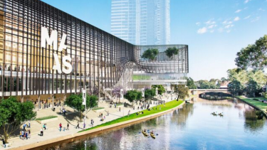 Artist's impression of the proposed Powerhouse museum on the banks of the Parramatta River.