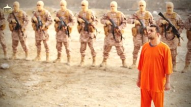 Jordanian pilot Muath al-Kasasbeh in a video released by Islamic State insurgents.