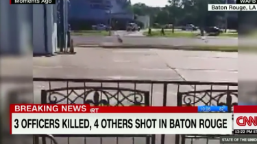 A screenshot of a video posted on social media at the shooting in Baton Rouge.
