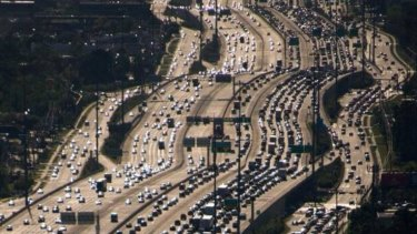 A section of Houston's Katy Freeway, which is believed to be the widest in the world.