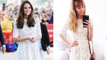 """Brooke is one of the Australians behind """"repliKate"""" Instagram account """"@CambridgeMums"""". She's pictured in a Zimmermann dress worn by the Duchess of Cambridge during a trip to Sydney's Manly Beach in 2014."""