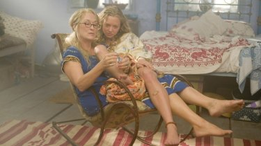 "As drop-out hippie Donna, Meryl Streep must account for her freewheeling youth when daughter Sophie (Amanda Seyfried) decides to invite three of her mother's ex-lovers to her wedding in a bid to find out whose DNA she's inherited. In the ensuing kerfuffle Donna is convinced that ""somebody up there has got it in for me – I bet it's my mother."""