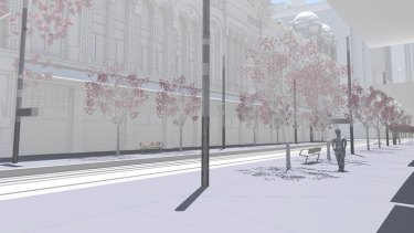 An artist's impression of the area of George Street outside the QVB without shelters.