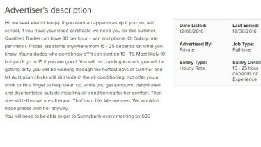 The Gumtree job ad is light on pay but heavy on sexism.