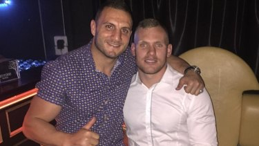 Matthew Lodge with former West Tigers captain Robbie Farah in a photo posted to social media four weeks ago.