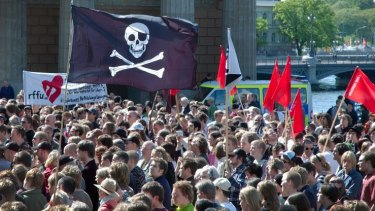A pro-piracy demonstration in Stockholm, Sweden, 2006 - the same year the Piratpartiet was founded.